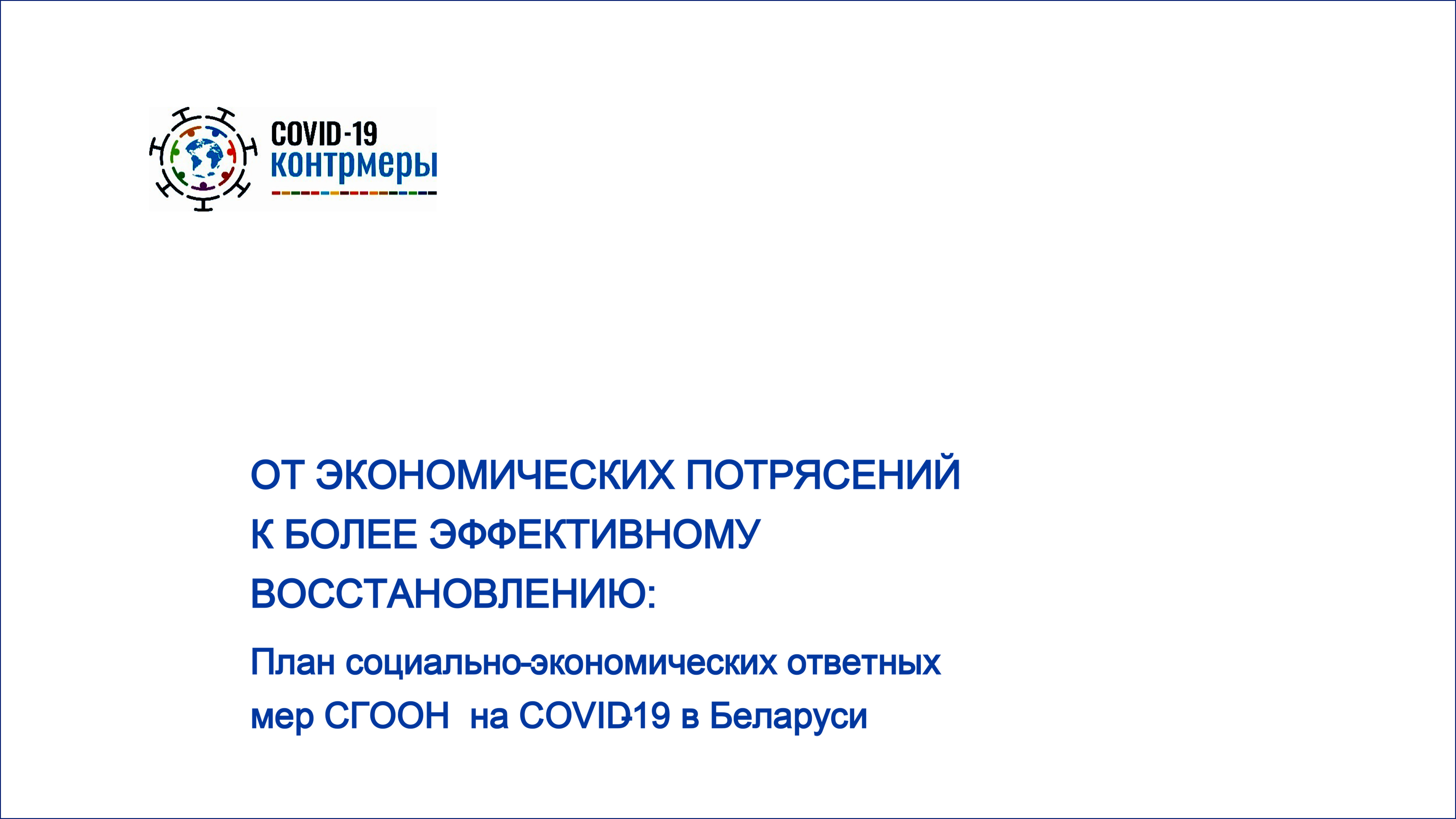 План социально-экономических ответных мер страновой группы ООН в Беларуси на COVID-19:  достижения и планы